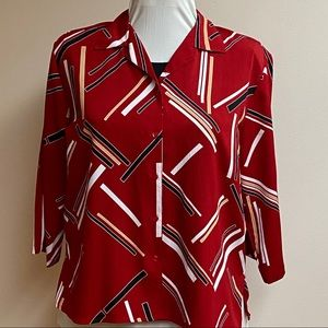 Notations 3/4 Sleeve Red Blouse